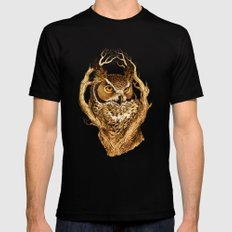 Great Horned Owl Mens Fitted Tee Black LARGE