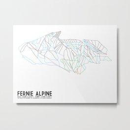 Fernie, British Columbia, Canada - Minimalist Trail Maps Metal Print