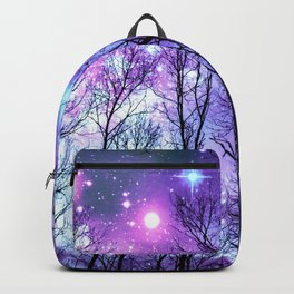 Black Trees Lavender Pink Blue Space Backpack