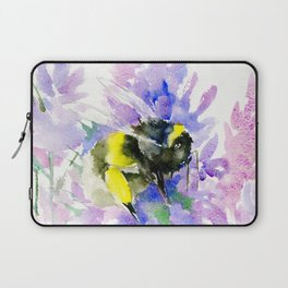 Bumblebee and Lavender Flowers, nature bee honey making decor Laptop Sleeve