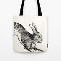 hare Tote Bags featuring HARE by Riku Ounaslehto