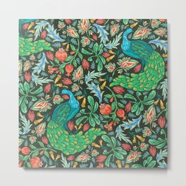 Asian-Inspired Floral Pattern With Majestic Peacocks Metal Print