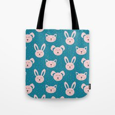 Dog, cat and bunny pattern Tote Bag