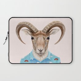 U is for a Urial with an Umbrella and Unicorn Patterned Shirt | Art Print Laptop Sleeve