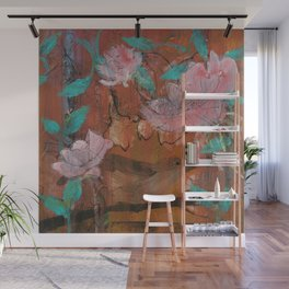 Bird Behind the Curtain of Roses Wall Mural