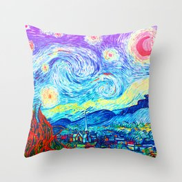 Psychedelic Starry Night Abstract Van Gogh Throw Pillow