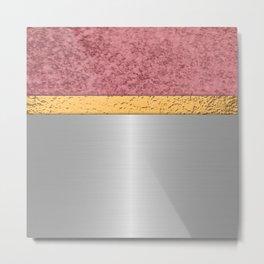 Rose Gold Silver Metallic & Gold Leaf Metal Print