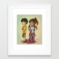 percy jackson Framed Art Prints featuring Percy & Korra by AndytheLemon