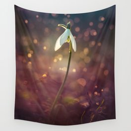 Snowdrops in the afternoon rain Wall Tapestry