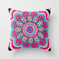 mod Throw Pillows featuring Mod Flower by PeriwinklePeacoat