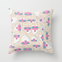 Christmas Cookie Cats Throw Pillow