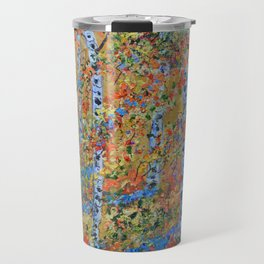 Aspen Trees, Birch Trees, Abstract Art, Landscape Painting Travel Mug