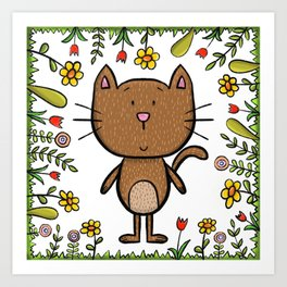 Cat in flower frame Art Print