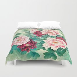Light pink and purple peonies Duvet Cover