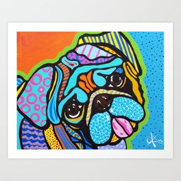 Pooped Pug Dog Puppy Designer Series Bright Colorful Fun Art Design Bulldog Breeds Art Print