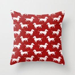 Merry Christmas Dachshunds Throw Pillow