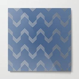 Simply Deconstructed Chevron White Gold Sands  on Aegean Blue Metal Print