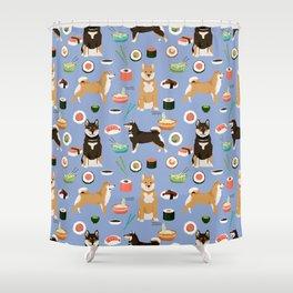 Shiba Inu noodles pho food cute dog art sushi dogs pet portrait pattern Shower Curtain