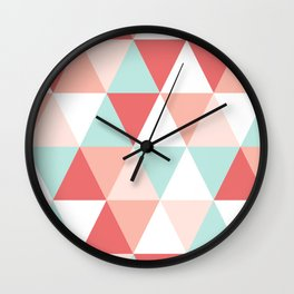 Modern quilt pattern triangle quilt baby nursery gender neutral gifts for new baby room Wall Clock
