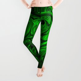 Apple Green and Onyx Glass Swirl Abstract Leggings