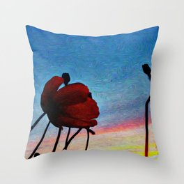 Poppy Sunset Throw Pillow