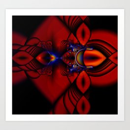Ruby Abstract Stained Glass Window Art Print