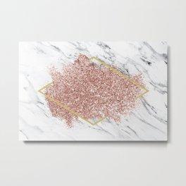 Marble Pink Glitter Metal Print