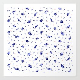 Hibiscus Hawaiian Flowers - White Art Print