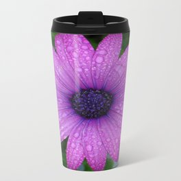 Purple African Daisy with Raindrops Travel Mug
