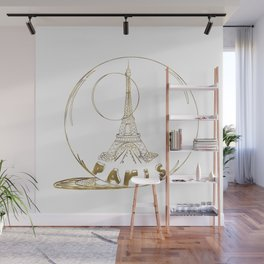 Golden Paris . Eiffel tower . Art Wall Mural