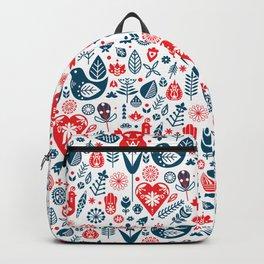 Scandinavian Red Blue Backpack