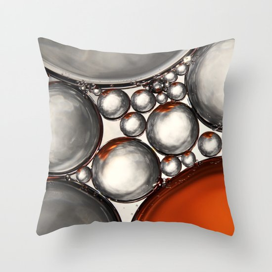 Mercury and Bronze Bubble Abstract Throw Pillow