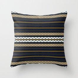 Navy Blue Gold Multi Pattern Stripe Print Throw Pillow