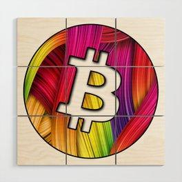 Bitcoin magic colours Wood Wall Art