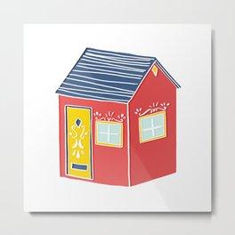 Little Red Scandinavian House Metal Print