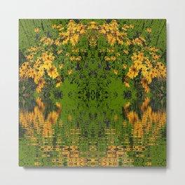 GREEN YELLOW RUDBECKIA DAISIES WATER REFLECTIONS Metal Print