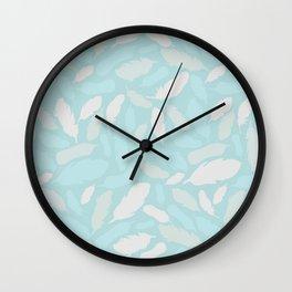 Feather Pattern Mint Wall Clock