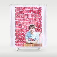 arctic monkeys Shower Curtains featuring Bigger Boys and Stolen Sweethearts - Arctic Monkeys by Frances May K