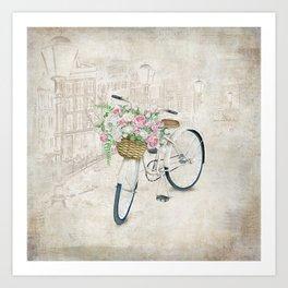 Vintage bicycles with roses basket Art Print