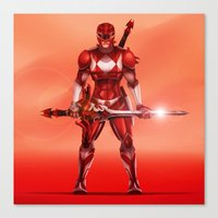 power ranger Canvas Prints featuring Red Ranger by Isaiah K. Stephens