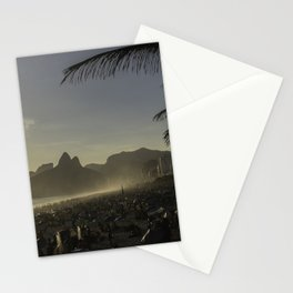 Sunset at Ipanema Beach with Pam Trees Stationery Cards