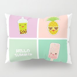 Hello Summer bright tropical card, pineapple, smoothie cup, ice cream, bubble tea. Kawaii cute face. Pillow Sham