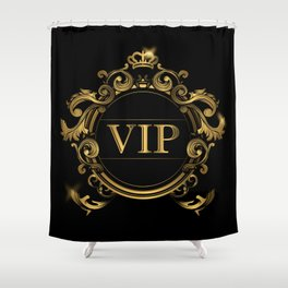 VIP In Black and Goldtone Shower Curtain