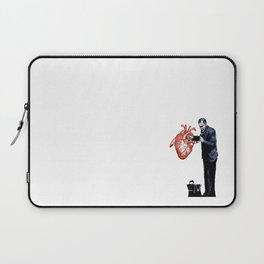 Banksy - Docter checking a heart for valentine Laptop Sleeve