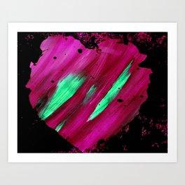 Magenta Abstract Heart Splatter Painting Magenta Red Crimson Green Black Art Print