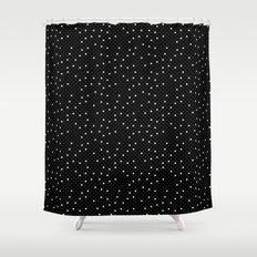 Pin Point Polka White on Black Repeat Shower Curtain