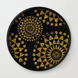 Gold glamour faux glitter ornament shimmering black Wall Clock