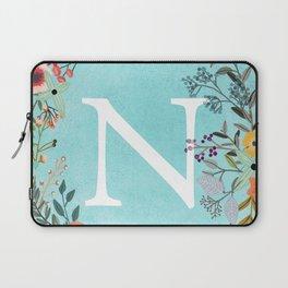Personalized Monogram Initial Letter N Blue Watercolor Flower Wreath Artwork Laptop Sleeve