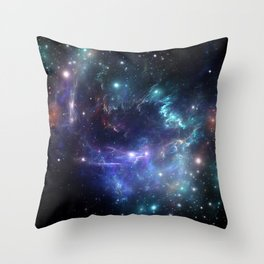 Violet green nebula galaxy 180715 Throw Pillow