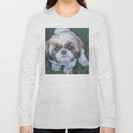 SHIH TZU dog art portrait from an original painting by L.A.Shepard Long Sleeve T-shirt